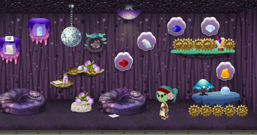Purple Meditation Chamber, with Scion of Purple cubimal and beanbags, a disco ball, gemstones, and free purple flowers and purple essence.
